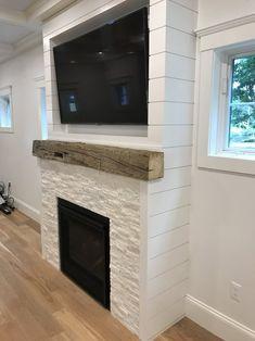 The Wyatt's build a house – fireplace Stone Electric Fireplace, White Stone Fireplaces, Stone Fireplace Wall, Basement Fireplace, Build A Fireplace, Shiplap Fireplace, White Fireplace, Bedroom Fireplace, Farmhouse Fireplace