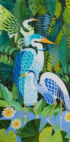 Harmonious Herons Painted by Gina Phillips Oil on canvas