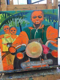 Man op motor, Uganda. Stance van der Meer