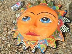 HUGE Mexican Hand Painted Talavera Pottery Sun Face Wall Hang