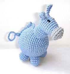 Small gray donkey Crochet animal Toy rattle Pet Home decor Nursery room Autumn fall fashion Waldorf toy, $20.00 For Miranda