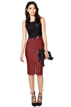 Petal Pusher Top - Classy, edgy, and very sexy! Black and burgundy never fail! The tied up heels are killer hot too!