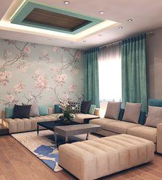 Walid Al- Edwan Home on Behance Living Room Partition Design, Living Room Sofa Design, Room Design Bedroom, Bedroom Furniture Design, Home Room Design, Home Interior Design, Indian Room Decor, Ethnic Home Decor, Decor Home Living Room