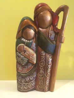 """Wooden Nativity set from Ecuador, 11"""" Tall Holy Family, Nativity scene"""