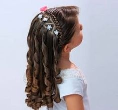 Female Women Hairstyles for Girls: Easy Fast and Beautiful 2019 20 Cute Little Girl Hairstyles, Flower Girl Hairstyles, Cute Hairstyles, Braided Hairstyles, Communion Hairstyles, Toddler Hair, Love Hair, Hair Dos, Hair Designs