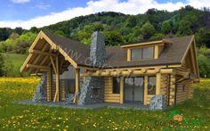 Proiect Doralnic 24 Case din busteni - Cabane din lemn Design Case, House Made, Made Of Wood, Log Homes, Cabana, Architecture Details, Wood Art, Living Room, House Styles