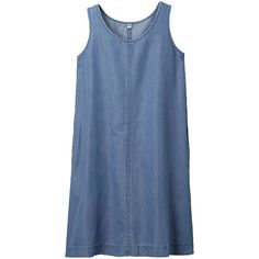 Women Cotton Tencel Sleeveless Dress (40 SGD) ❤ liked on Polyvore featuring dresses, vestidos, tops, blue, cotton day dresses, tencel dress, blue dress, summer dresses and blue long sleeve dress