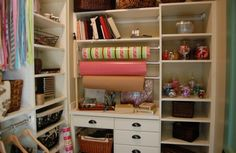 Like these organizers for wrapping paper and ribbon. A possibility for storage/built-ins in Abby's office.