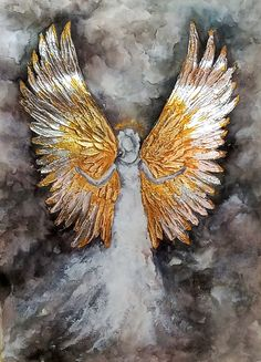 Watercolor Angel Gold-Silver Angel Wings Abstract White Angel Watercolor painting Mixed technique a Angel Wings Art, Angel Wings Painting, Angel Artwork, Angel Drawing, Art Texture, Texture Painting, Angel Aesthetic, Angel Pictures, Art Original