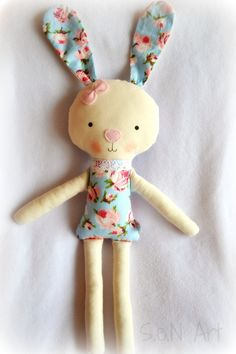 Soft Doll Bunny Handmade Ballerina Doll Bunny Fabric by SenArt1