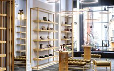 Simple yet luxurious shoe store design by Comelite Architecture Structure and Interior Design, white and taupe as the main color scheme, with accents of gold in the shoe racks, in stool legs and display tables, adding richness to the store's interior. Design Shop, Shoe Store Design, Retail Store Design, Showroom Interior Design, Luxury Interior, Luxury Store, Store Interiors, Modern Shop, Boutique