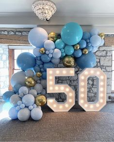 Balloons By Dina on Beautiful hues of blue for this stylish birthday. Balloons by us balloonsbydina Lightup Numbers by marqueeletterstoronto 50th Birthday Balloons, 50th Birthday Party Games, Moms 50th Birthday, 50th Birthday Party Decorations, 50th Party, Blue Party Decorations, Blue Birthday, Birthday Month, Happy Birthday