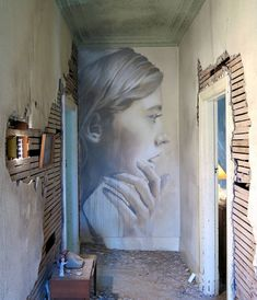 A new female portrait by australian street artist Rone