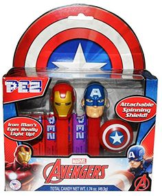 Pez Avengers Twin Pack Featuring Iron Man and Captain America Includes 6 Pez Fruit Refill Rolls - Total candy net wt. 1.74 oz Iron Man's Eyes Light Up Using Motion Senor Technology and Captain America Comes with a Clip On Spinning Shield