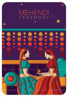 Mehendi ceremony – Indian wedding invite Designed and illustrated by SCD Balaji, Indian illustrator Wedding Card Design Indian, Indian Wedding Cards, Indian Wedding Decorations, Wedding Designs, Indian Weddings, Indian Wedding Invitation Cards, Creative Wedding Invitations, Wedding Stationery, Wedding Goals