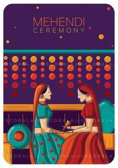 Mehendi ceremony – Indian wedding invite Designed and illustrated by SCD Balaji, Indian illustrator Wedding Card Design Indian, Indian Wedding Cards, Wedding Designs, Indian Weddings, Mehendi, Mehndi Decor, Mehndi Art, Wedding Goals, Wedding Events
