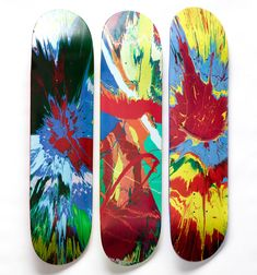 These limited edition skateboards feature one of Damien Hirst's Spin paintings. The triptych is part of the Damien Hirst for Supreme skateboard collection. Available to buy from Tate Shop. Skateboard Design, Skateboard Decks, Longboard Design, Supreme Skateboard Deck, Art Nouveau, Skate Art, Cool Skateboards, Skate Decks, Damien Hirst