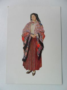 Latvian National Costume. Postcard. Folk dress cloth Latvia.