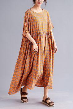 4cd66aee4e1 Style o neck half sleeve cotton linen dresses yellow print long Dresses  Summer