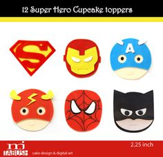 Fondant Superhero cupcake toppers by mjtabush on Etsy, superman, ironman, captain america, flash, spiderman, batman