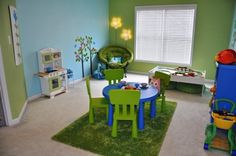 Nature Inspired Playroom, We had a great time creating this playroom for our daughter.  I liked the idea of using nature inspired elements (sun light fixture, green grass like rug, tree murals on the walls, flower lights, birds and other stuffed animals, etc) to give the feeling of being outdoors.  I wanted to make a playroom colorful and fun, while still keeping the design simple., Nurseries Design
