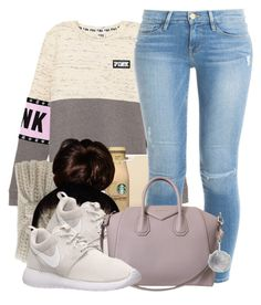 """""""Untitled #532"""" by b-elkstone ❤ liked on Polyvore featuring Aéropostale, Kate Spade, NIKE, Frame Denim and Givenchy"""