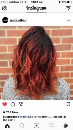 dark brown to aubrun to orange ombre balayage sunset hair Orange Ombre Hair, Brown To Red Ombre, Brown To Red Hair, Burnt Orange Hair, Ginger Ombre, Orange Red, Dark Brown, Cheveux Oranges, Pulp Riot Hair Color