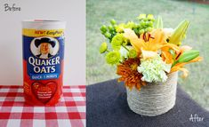How to make a roped vase from a recycled oatmeal container!  From Spark & Chemistry Blog!