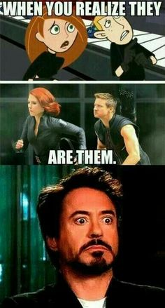 When-You-Realize. Avengers Kim Possible. I use to watch Kim Possible Marvel Jokes, Humour Avengers, Ms Marvel, Funny Marvel Memes, Marvel Avengers, Marvel Heroes, Funny Avengers, Hawkeye Marvel, Funny Superhero Memes