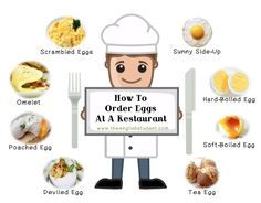 The English Student, ordering eggs, how to order eggs at a restaurant, different types of eggs English Tips, English Food, English Study, English Class, English Lessons, Learn English, English Desserts, English Games, British English