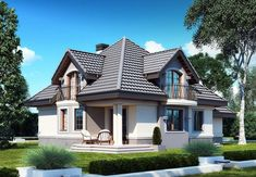 DOM.PL™ - Projekt domu DM Śnieżka K CE - DOM GM2-59 - gotowy koszt budowy Dream Home Design, House Design, Civil Construction, Plans Architecture, House Plans, Floor Plans, Cabin, How To Plan, Mansions
