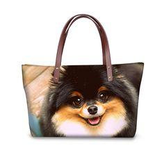 Cute Pomeranian Women To-Handle Bags Famous Brand Pet Dog Lady Handbags Tote Bags Shopping Travel Crossbody Bag Bolsa Feminina Crossbody Bags For Travel, Tote Bag, Cute Pomeranian, Dog Lady, Dog Design, Tote Handbags, I Love Dogs, Shopping Bag, Fashion Women