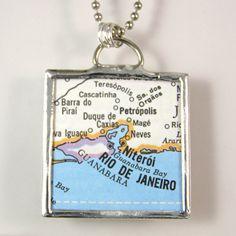 Rio de Janeiro Vintage Map Pendant Necklace by XOHandworks $20 Flask, Brazil, Craft Ideas, Pendant Necklace, Map, Personalized Items, Crafts, Vintage, Accessories