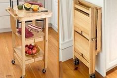 If your kitchen doesn't have the space to accommodate a full time kitchen island, then perhaps this folding version is for you.  More Woodworking Projects on www.woodworkerz.com