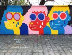 Street art mural by Emily Eldridge – streetart Murals Street Art, Graffiti Wall Art, Mural Wall Art, Street Art Graffiti, Street Wall Art, Best Street Art, Graffiti Artists, Graffiti Lettering, Image Swag