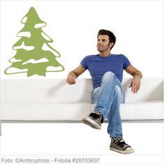 Wandtattoo Weihnachten - Weihnachtsbaum mit Schnee