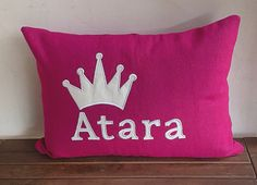 Custom Baby Name Pillow Cover-pink and white by Snazzyliving