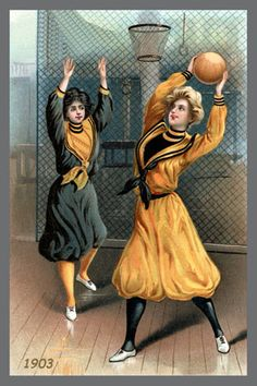Princeton Women Playing Basketball 1903. Quilt Block printed on cotton. Ready to sew.  Single 4x6 block $4.95. Set of 4 blocks with free wall hanging pattern $17.95