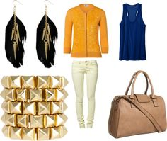 """""""blue and goldd"""" by dreamer-dx on Polyvore"""