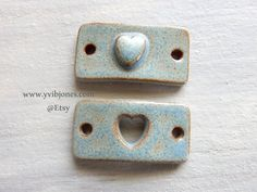 Couple's Rectangle Bracelet Charm with Heart by KilnFiredDiffusers
