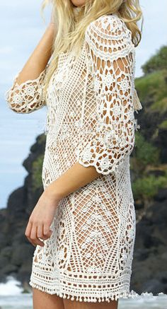 Optimize your comfort and beauty with this Lace Bikini Cover up Mini Dress. It features round neck, pullover style, backless, hollow out, solid color, 3/4 sleeve and mini length.