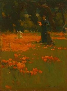 Scene with orange poppies Mathews studied at Paris' Académie Julian 1885-89, so might have been aware of paintings of poppy fields done by C...