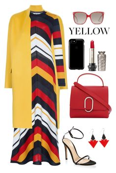 A fashion look from February 2018 featuring multi colored dress, yellow coat and open toe sandals. Browse and shop related looks. Church Outfits, Office Outfits, Colourful Outfits, Colorful Clothes, Sunday Outfits, Gucci Outfits, Complete Outfits, Winter Dresses, Signature Style