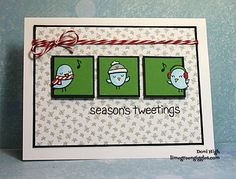 Lawn Fawn - Winter Sparrows, Peace Joy Love paper, Peppermint Lawn Trimmings _ WT446  Season's Tweetings!