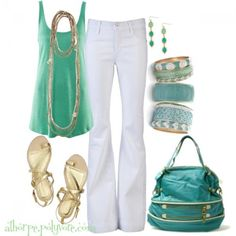 BlueGreen Top, White Pants and Gold Accessories (Dark Hair)