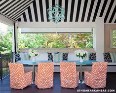 A Haute Outdoor Retreat | At Home Arkansas | March 2014 | Photographer: Nancy Nolan | Designer: Tobi Fairley @Tobi McDaniel Fairley  #stripes #cabana #blackandwhite #aqua #restorationhardware