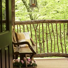 love the natural railing, perfect for a mountain getaway~