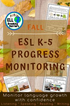 This mega bundle provides you with progress monitoring assessments for your ESL ELL EFL EAL ESOL students in grades K-5. Please carefully read which assessments are included as the bundle is GROWING and not yet fully complete. I will update this product as the assessments are complete and send you a note regarding the update when posted. K-5 Assessments: * Reading * Writing * Speaking * Listening Reading Assessment, Reading Fluency, Teaching Character Traits, Teacher Checklist, Fall Words, Teacher Resources, Esl Resources, Teaching Ideas, Primary Activities