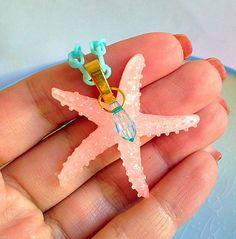 Mermaid Starfish Necklace - Nautical, Sailor, Kawaii, Sweet Lolita, Pastel, Shimmer, Ocean, Beach