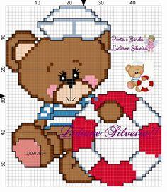 ponto cruz Cross Stitch Baby, Cross Stitch Flowers, Cross Stitch Charts, Cross Stitch Designs, Cross Stitch Patterns, Nautical Pattern, Nautical Theme, Diy Recycling, Animal Crackers